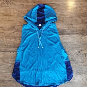 Under Armour Blue Hooded Tank Mesh Details S